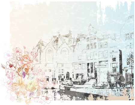 vintage illustration of Amsterdam street   Watercolor style  Vector