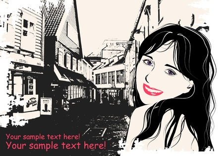 fashion girl in sketch style on a  Scandinavian city-background   Vector