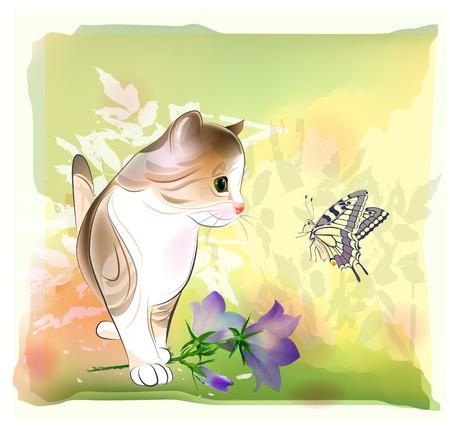 retro verjaardag wenskaart met kleine kitten kijken op vlinder Aquarel stijl Stock Illustratie