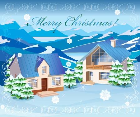 winter scenery: winter landscape Illustration