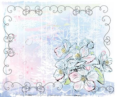 peach blossom: sketch of apple tree in bloom Illustration