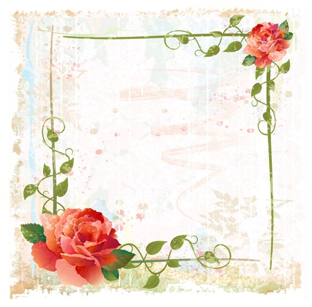 creeping: vintage background with red roses and ivy