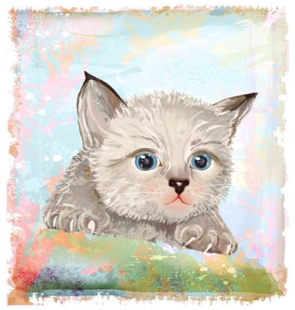 hand drawn portrait of the fluffy kitten  with blue eyes Vector