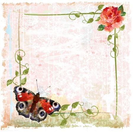 赤いバラとツタ蝶ビンテージ背景