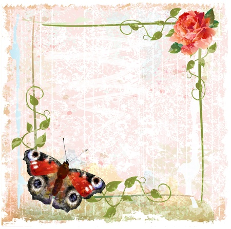creeping: vintage background with red roses, ivy and butterfly