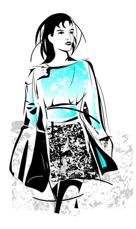 freehand sketch of shopping girl with bag Vector