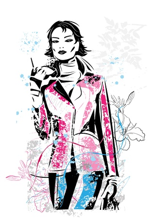 freehand sketch of   fashionable girl  Vector