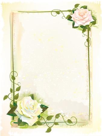 バラの水彩画の模倣で古いスタイルのフレーム