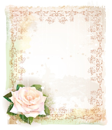 Vintage frame  with rose  Imitation of watercolor painting
