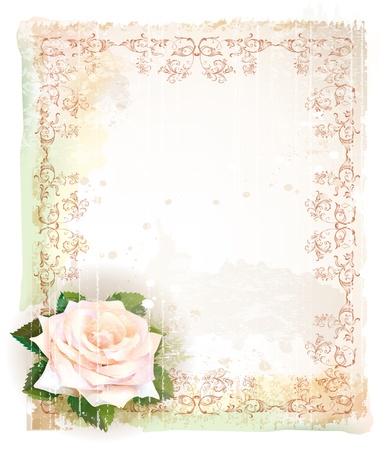 水彩画のバラの模倣とビンテージ フレーム