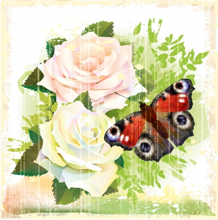 country life: Butterfly and roses
