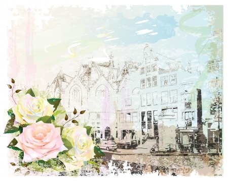 vintage illustration of Amsterdam street and roses. Watercolor style. Stock Vector - 14351944