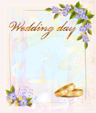 matrimony: wedding card  with  rings and violets