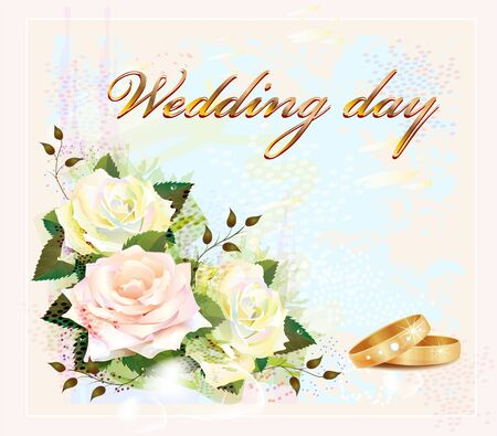 wedding card  with  rings and roses Vector