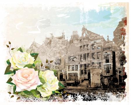 olanda: illustrazione d'epoca di Amsterdam strada e rose. Acquerello stile.