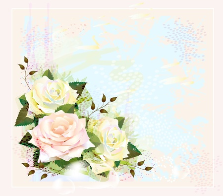 Vintage background  with roses. Imitation of watercolor painting Vector