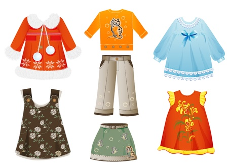 set of seasonal clothes for girls Vector