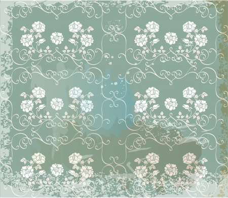 Green  vintage background   with white roses Vector