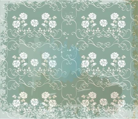 bg: Green  vintage background   with white roses