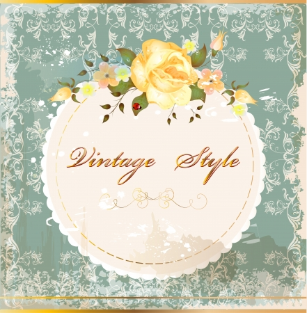 Shabby vintage postcard with roses Vector