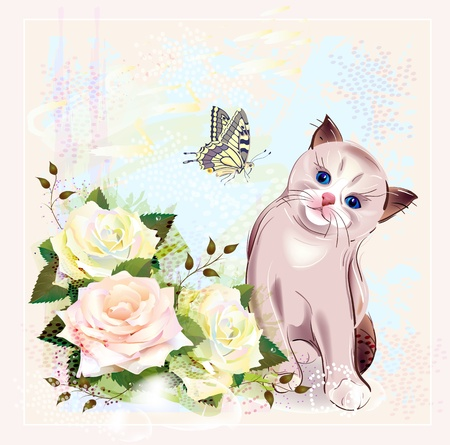 greeting card with kitten, butterfly and roses Vector