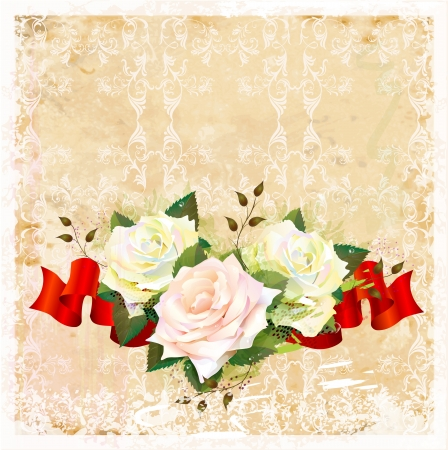 vintage  ornamental background with roses and ribbon Vector