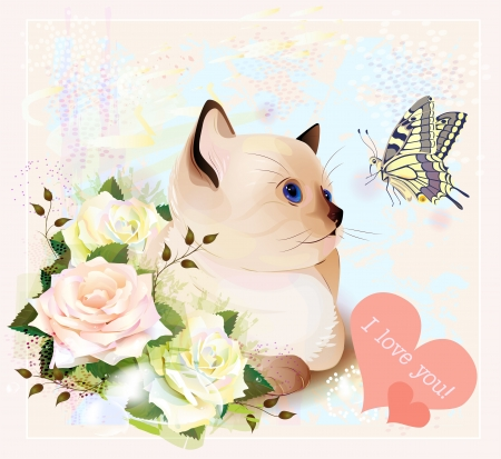 Valentines day greeting card with kitten, butterfly and roses Illustration