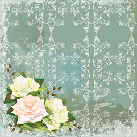 mothers day background: Vintage background  with roses. Imitation of watercolor painting.