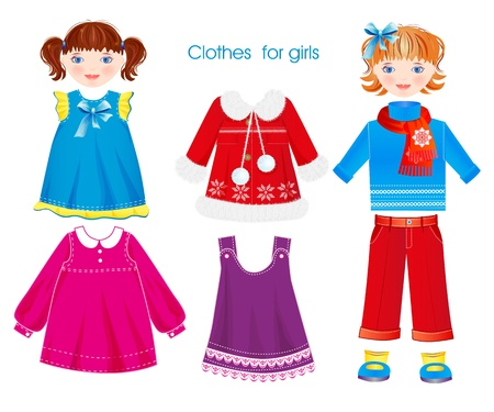 baby wardrobe: set of seasonal clothes for girls Illustration