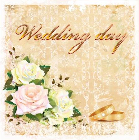 cartoline vittoriane: matrimonio carta d'epoca con rose e anelli