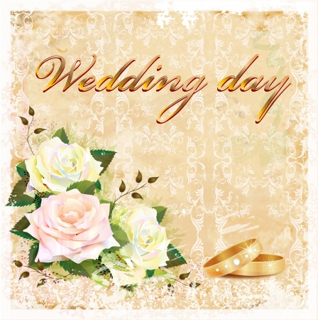 vintage wedding card with roses and rings  Vector