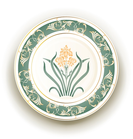 plate with art nouveau design Vector