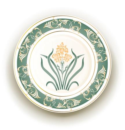 earthenware: plato con dise�o Art Nouveau