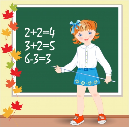Back to school.  Schoolgirl on the lesson of mathematics. Vector