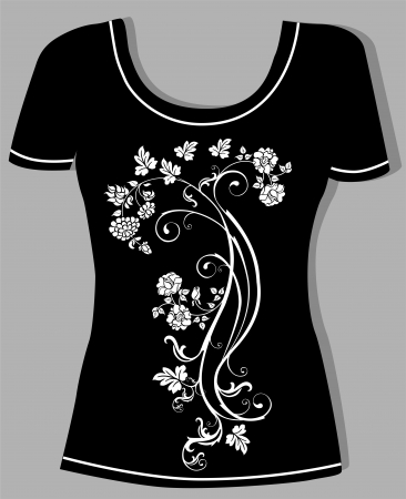 t shirt printing: t-shirt design  with  vintage floral element