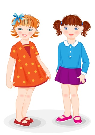 schoolgirls: Cartoon stylish girls