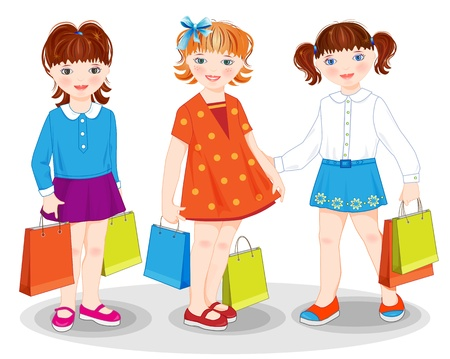bargain sale: Little girls with bags. Shopping. Illustration