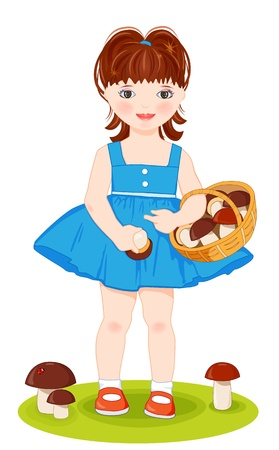 Little girls with basket full of mushrooms Vector