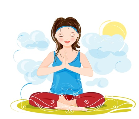 pilates: illustration of a beautiful young woman meditating in yoga lotus position
