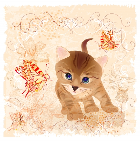 birthday card with little  kitten, flowers and butterflies Vector