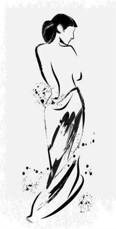 uit de vrije hand schets van het mooie meisje Stock Illustratie