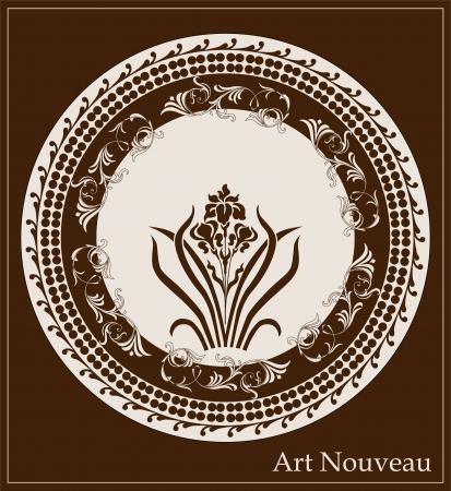 アイリスの花を持つアール ヌーボー デザイン