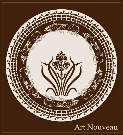 nouveau: art nouveau design with iris flower Illustration