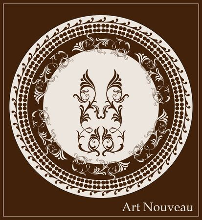 ornately: art nouveau design for decorative plate