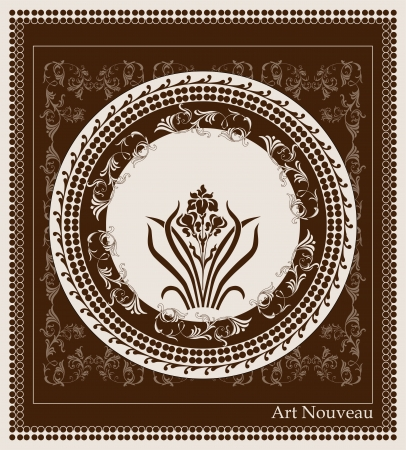 art nouveau design with iris flower Vector