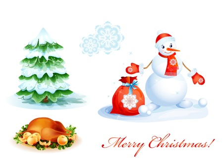 winter grilling: set of Christmas icons