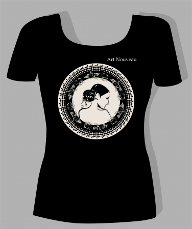 ornately: t-shirt design  with  portrait of beautiful girl in art nouveau style