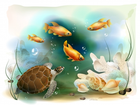 peces de colores: ilustración del mundo submarino tropical