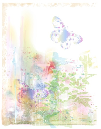 picturesque: watercolor background with butterflies
