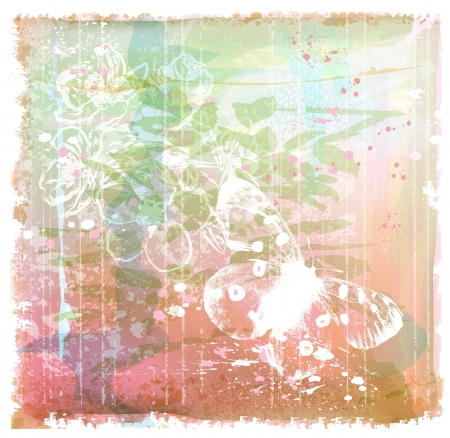 spotted flower: grunge background with butterfly and flowers